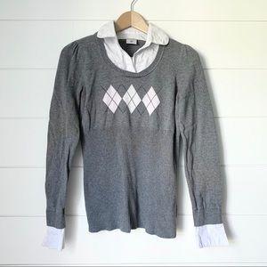 MOTHERHOOD Grey Argyle Layered Sweater